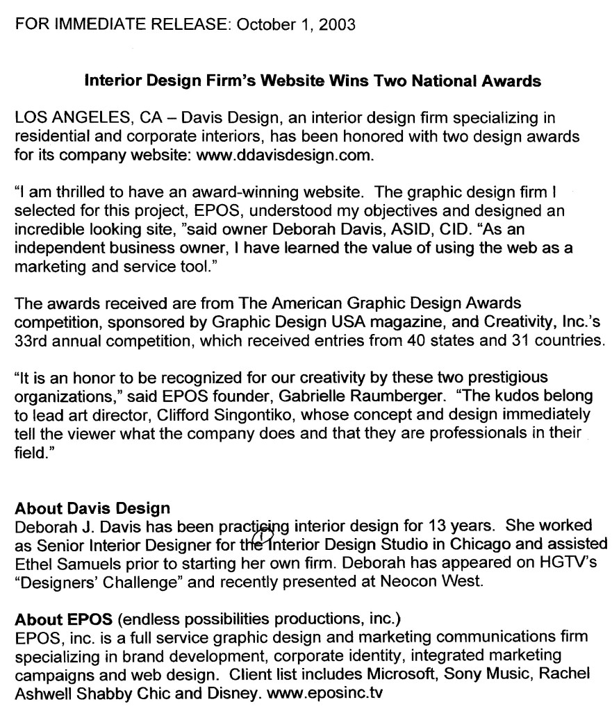 Website Award Press Release